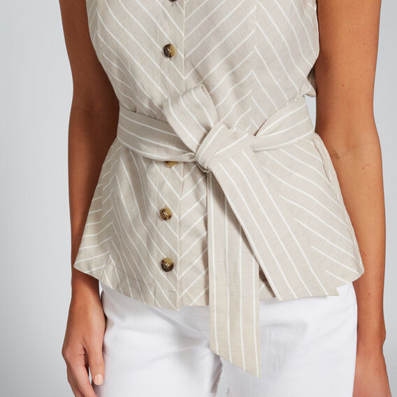 Linen Stripe Top  COOL SAND STRIPE  hi-res