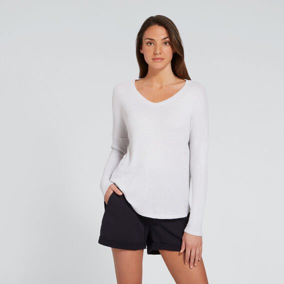 V-Neck Slouch Top  WHITE MARLE  hi-res