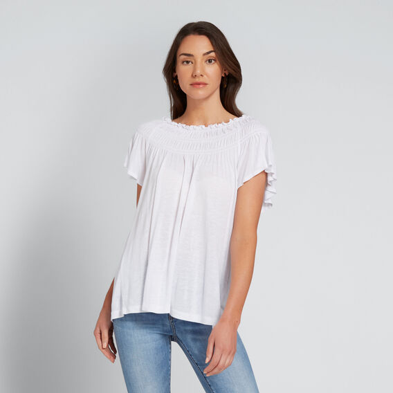 Gathered Top  WHISPER WHITE  hi-res