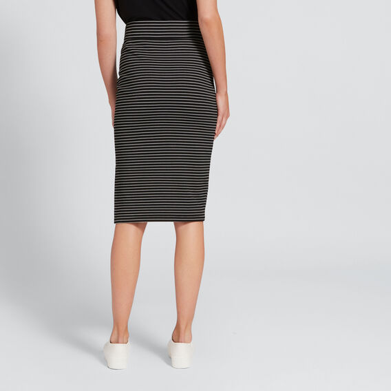 Longline Ponte Skirt  BLACK/WHITE STRIPE  hi-res