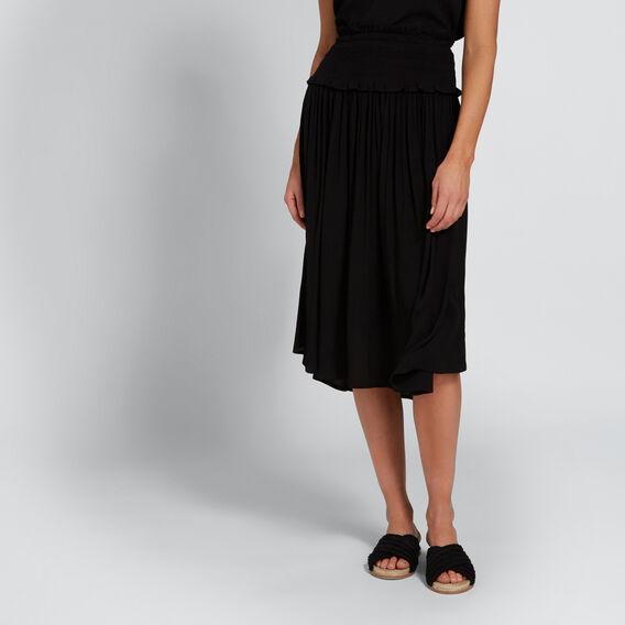 Shirred Waist Skirt  BLACK  hi-res