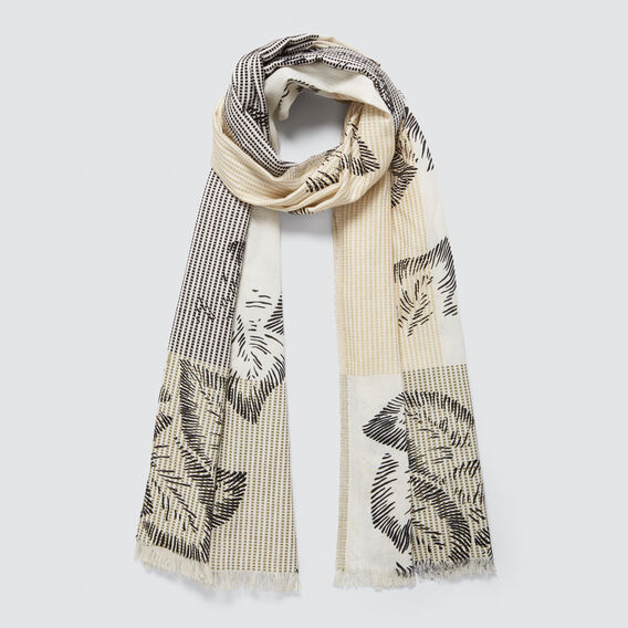 Leaf Print Scarf  WHITE/BLACK  hi-res