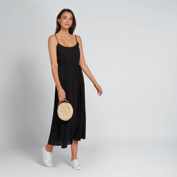 Pleated Spot Dress  BLACK/WHITE SPOT  hi-res