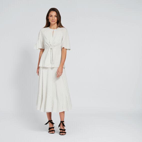 Striped Asymmetric Skirt  CLOUD CREAM STRIPE  hi-res