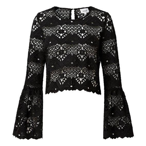 Lace Crop Bell Sleeve Top  BLACK  hi-res