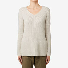 V-Neck Rib Sweater  TAUPE MARLE  hi-res