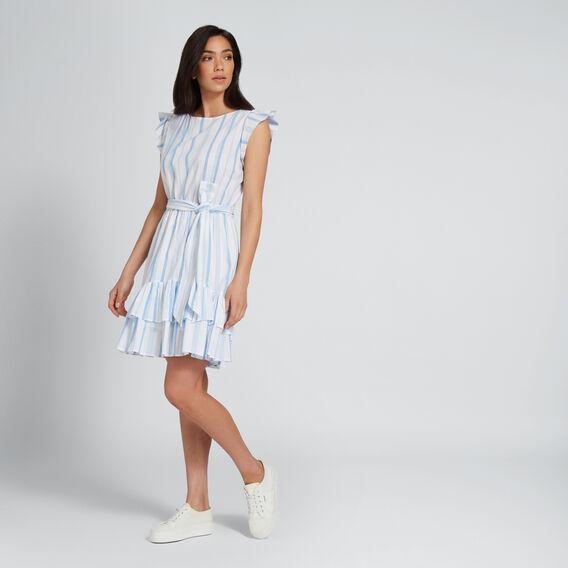Ruffle Hem Stripe Dress  COOL BLUE STRIPE  hi-res