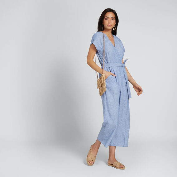 Cross-Over Jumpsuit  CROSS-DYE STRIPE  hi-res