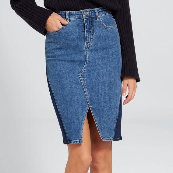 Spliced Denim Skirt  MARINE BLUE WASH  hi-res