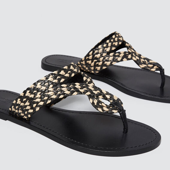 Amelia Braided Slide  BLACK/NATURAL  hi-res