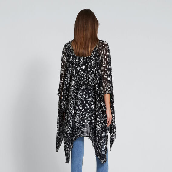 Summer Poncho  BLACK/CLOUD CREAM  hi-res