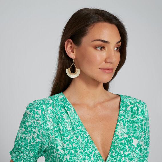 Crescent Tassel Earrings  GOLD/WHITE  hi-res