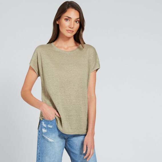 Relaxed Linen Tee  WASHED OLIVE  hi-res