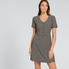 Button-Up Jersey Dress  OYSTER CREAM STRIPE  hi-res