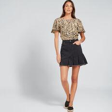 Asymmetric Ruffle Skirt  WASHED BLACK  hi-res