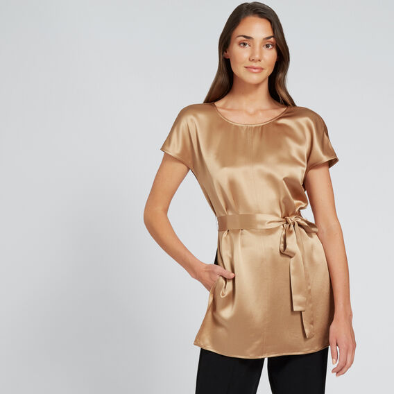 Short Sleeve Satin Blouse  LIGHT COCOA  hi-res
