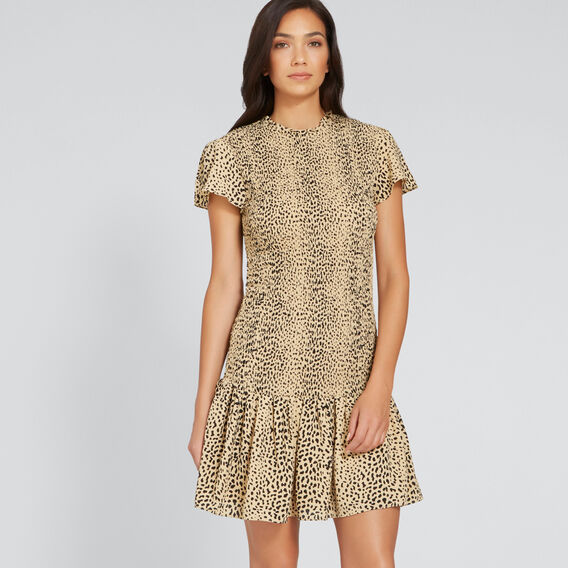 Shirred Animal Print Dress  ANIMAL PRINT  hi-res