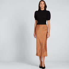 Printed Satin Skirt  SPOT  hi-res