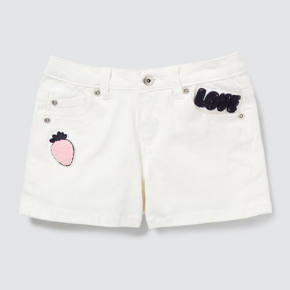 Patch Denim Shorts  WHITE  hi-res