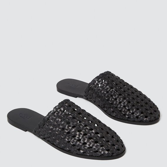 Martha Woven Slide  BLACK  hi-res