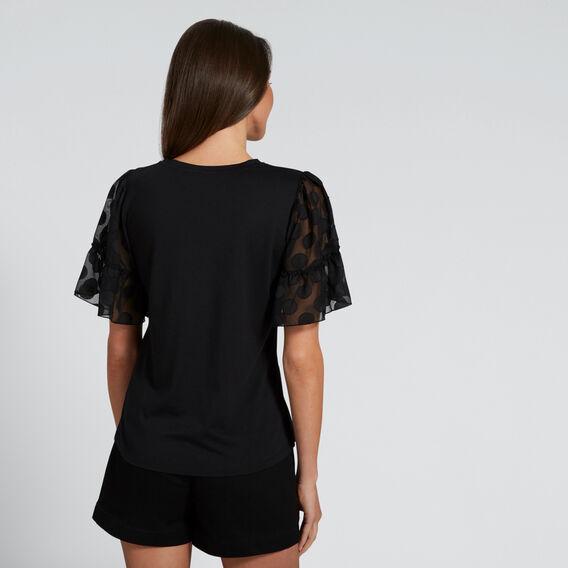 Contrast Sleeve Tee  BLACK  hi-res