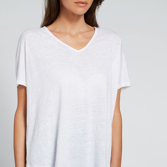 Relaxed V-Neck Linen Tee  WHISPER WHITE  hi-res