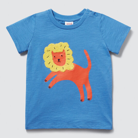 Chenille Lion Tee  CORNFLOWER BLUE  hi-res