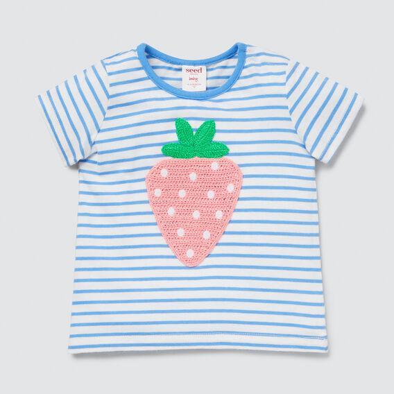 Strawberry Stripe Tee  PERIWINKLE  hi-res