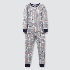 Long Sleeve Car Yardage Pyjama Set  CLOUDY MARLE  hi-res
