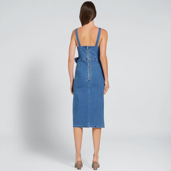 Wrap Front Denim Dress  DEEP SEA DENIM  hi-res
