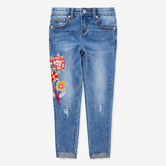 Floral Embroidered Jeans  LIGHT WASH  hi-res