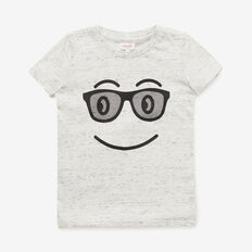 Smiley Face Tee  VINTAGE WHITE MARLE  hi-res