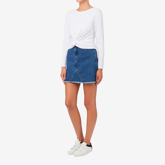 Knot Front Fleck Top  BRIGHT WHITE MARLE  hi-res