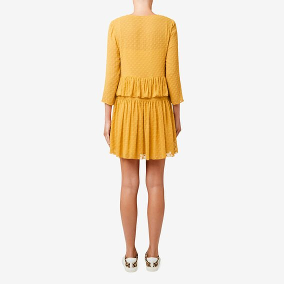Dobby Frill Dress  HONEY YELLOW  hi-res