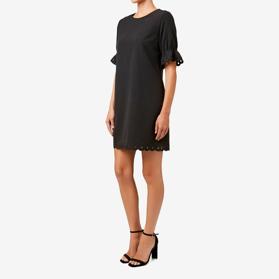 Broderie Trim Dress  BLACK  hi-res