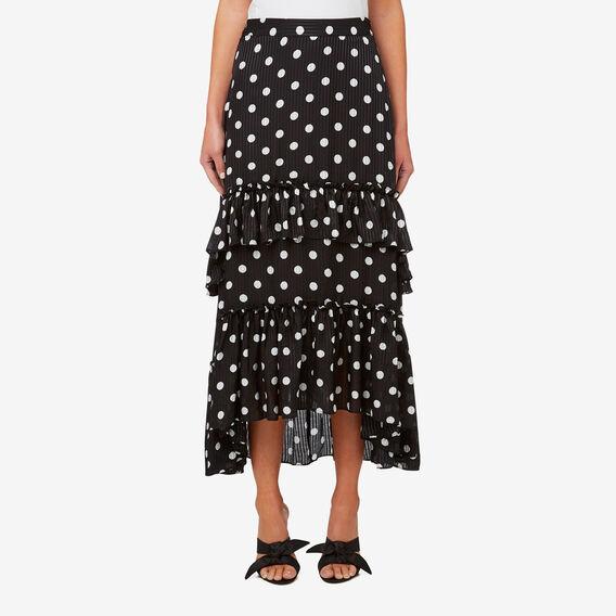 Tiered Frill Skirt  BLACK/WHITE SPOT  hi-res