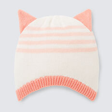Knit Ear Stripe Beanie  CORAL RED  hi-res