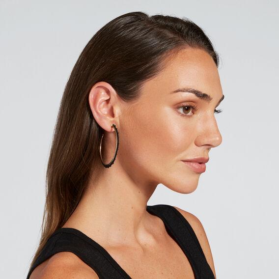 Beaded Hoop Earrings  GOLD/BLACK  hi-res