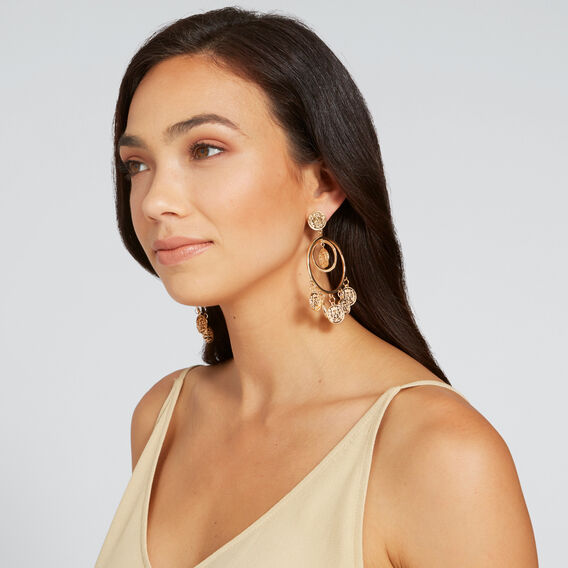 Coin Statement Earrings  GOLD  hi-res