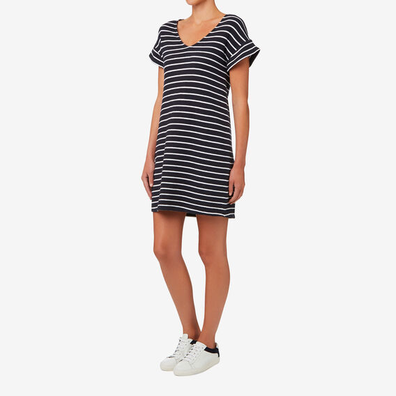 Frill Sleeve Shift Dress  DEEP NAVY STRIPE  hi-res