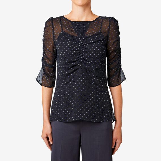 Ruched Sleeve Top  BLACK  hi-res