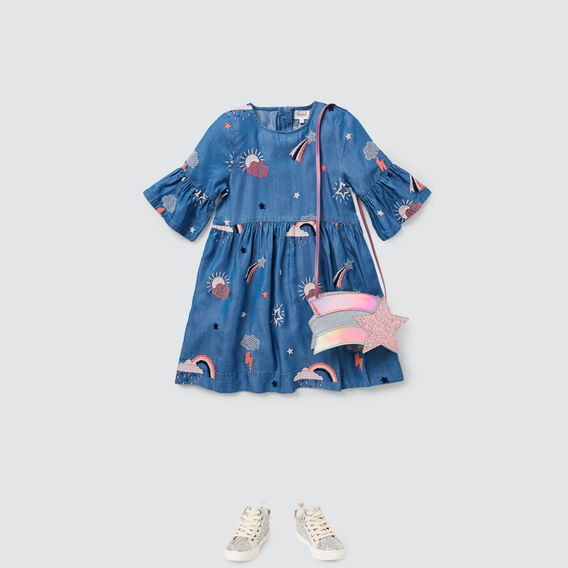 Rainbow Chambray Dress  WASHED BLUE  hi-res