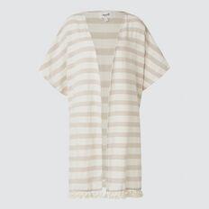 Multi Stripe Poncho  TAUPE/CREAM  hi-res