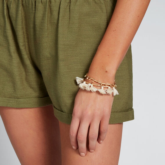 Stretch Tassel Bracelet  GOLD/CREAM  hi-res