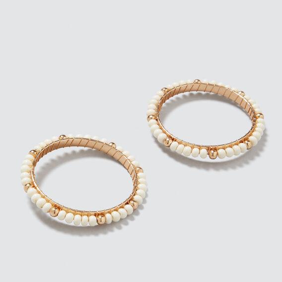 Beaded Circle Earrings  CREAM  hi-res