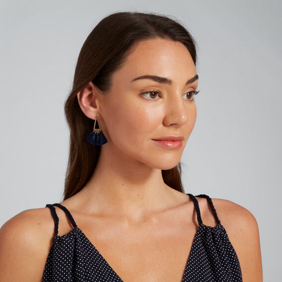 Triangle Tassel Earrings  NAVY  hi-res