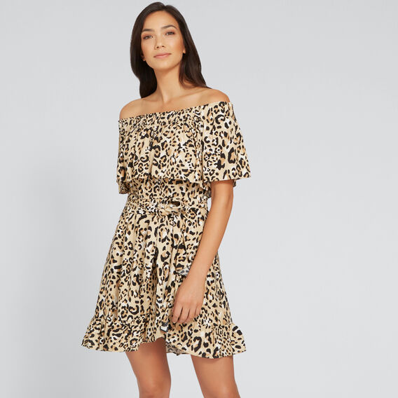 Off-Shoulder Animal Dress  ANIMAL PRINT  hi-res