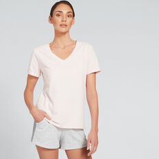 Short Sleeve V Neck Tee  PALE PINK  hi-res