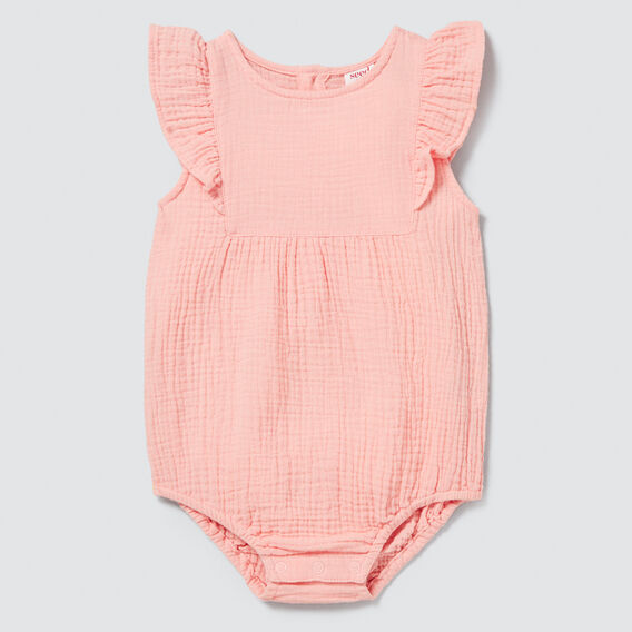 Cheesecloth Frill Onesie  BRIGHT PEACH  hi-res