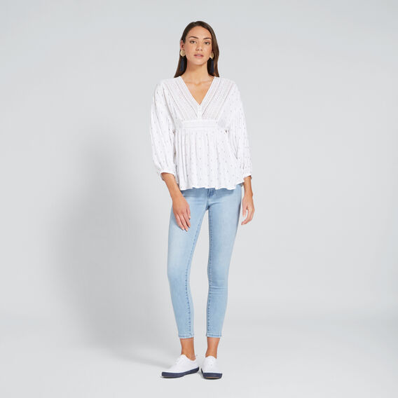 Lace Dobby Top  WHISPER WHITE  hi-res